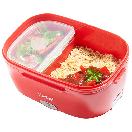 vonshef electric heated portable food warmer lunch bento box red compact 40w 1 5l swstretford. Black Bedroom Furniture Sets. Home Design Ideas